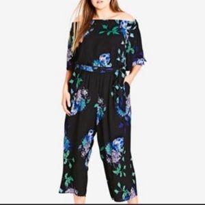 City Chic Floral Jumpsuit size 24